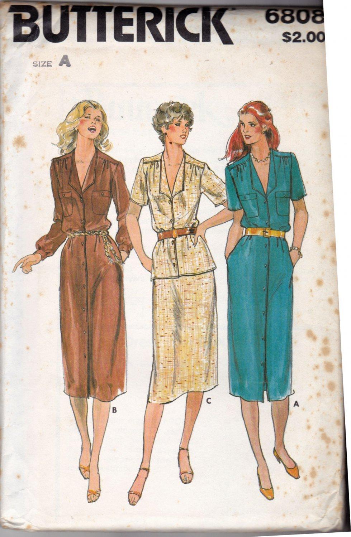 Butterick 6808 Pattern uncut 8 10 12 Button Front Dress Top A-Line Skirt