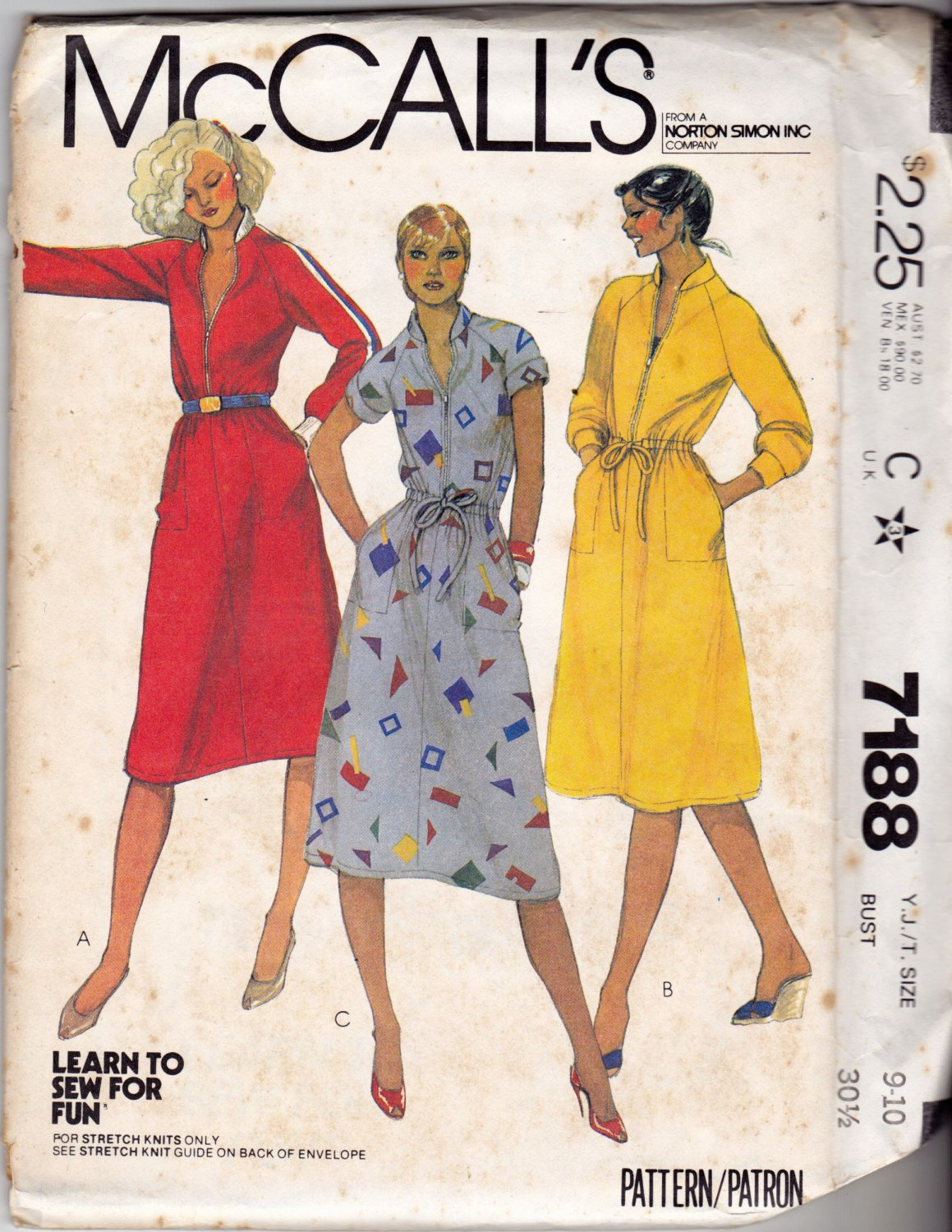 McCall's 7188 Pattern uncut 9-10 Bust 30.5 Knit Dress Zip Front Big Pockets