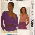 McCall's 7390 Pattern uncut small 10 12 Pullover Top Forward Shoulder Released Front Tucks V Neck