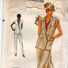 Vogue 7337 Pattern uncut 8 10 Sleeveless Double Breasted Jacket Vest Pants Skirt