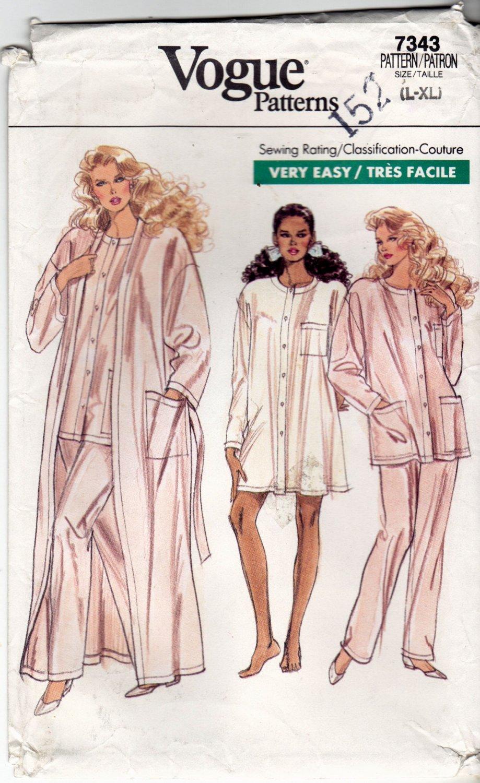 Vogue 7343 Pattern uncut L XL 16 18 20 22 Pajamas Nightshirt Robe