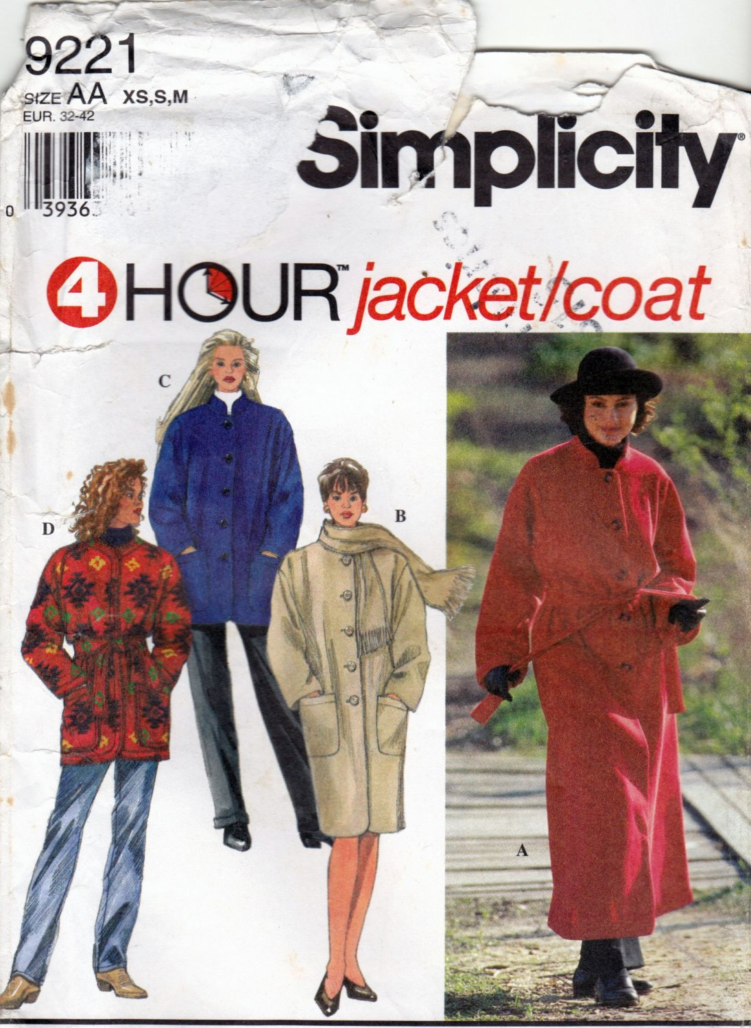 Simplicity 9221 Pattern uncut XS S M Jacket Coat Scarf Optional Lining