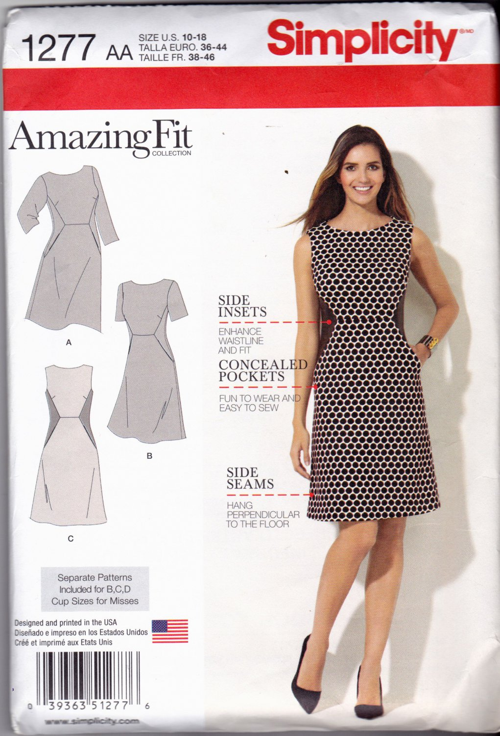 Simplicity 1277 Pattern uncut 10 12 14 16 18 Amazing Fit Dress Slim Average Curvy