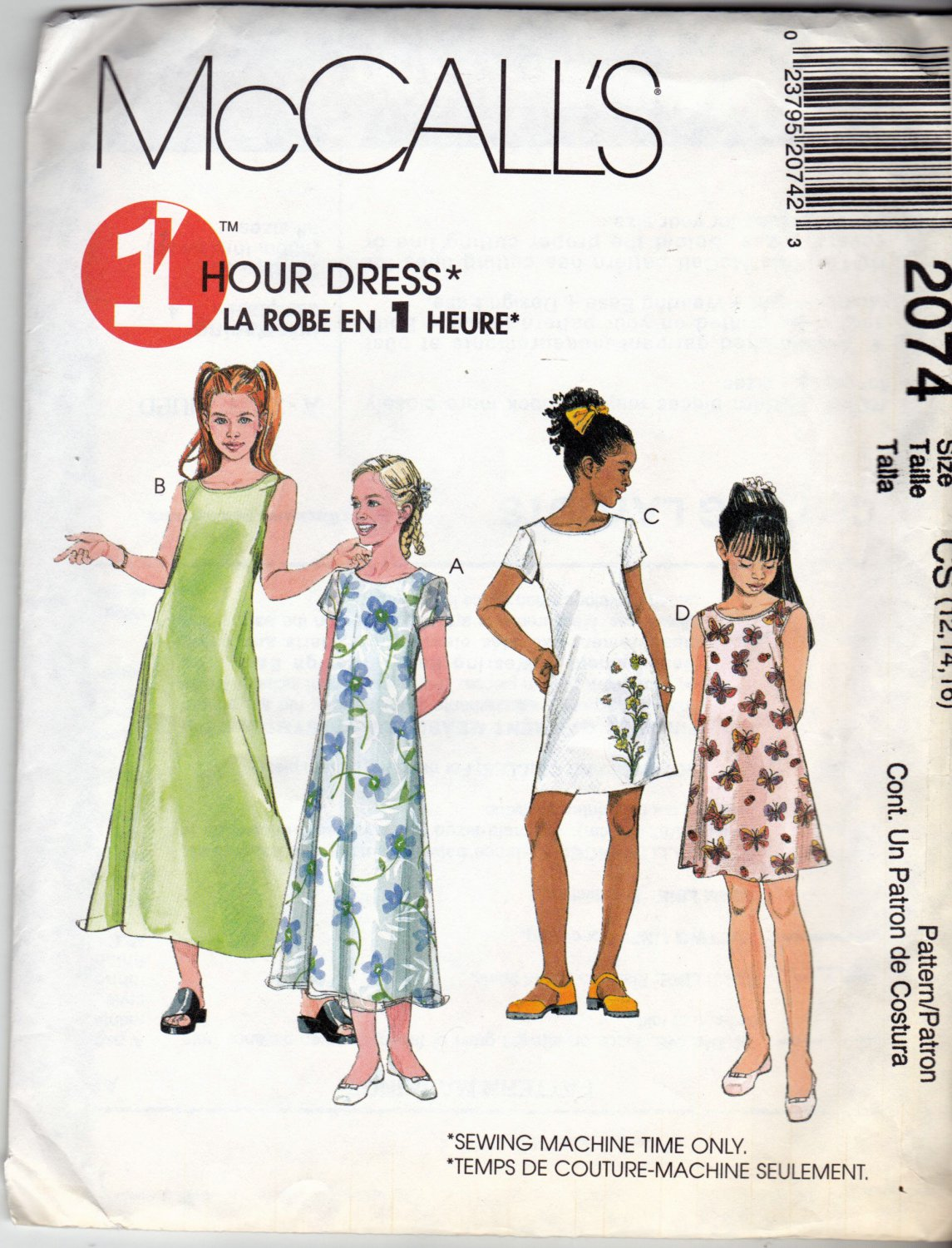 McCall's 2074 Pattern uncut Girls 12 14 16 Sleeveless or Short Sleeve Dress