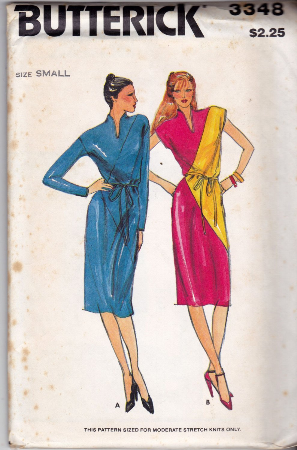 Butterick 3348 Pattern uncut small Straight Dress Diagonal Color Block for Knit Fabrics