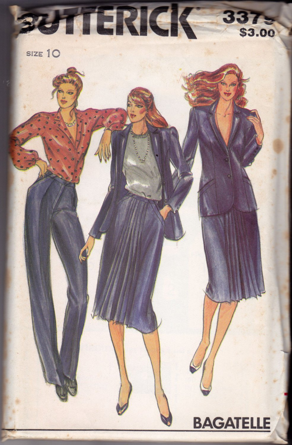 Butterick 3379 Pattern uncut 10 Lined Jacket Skirt Front Pleats Tapered Pants Bagatelle