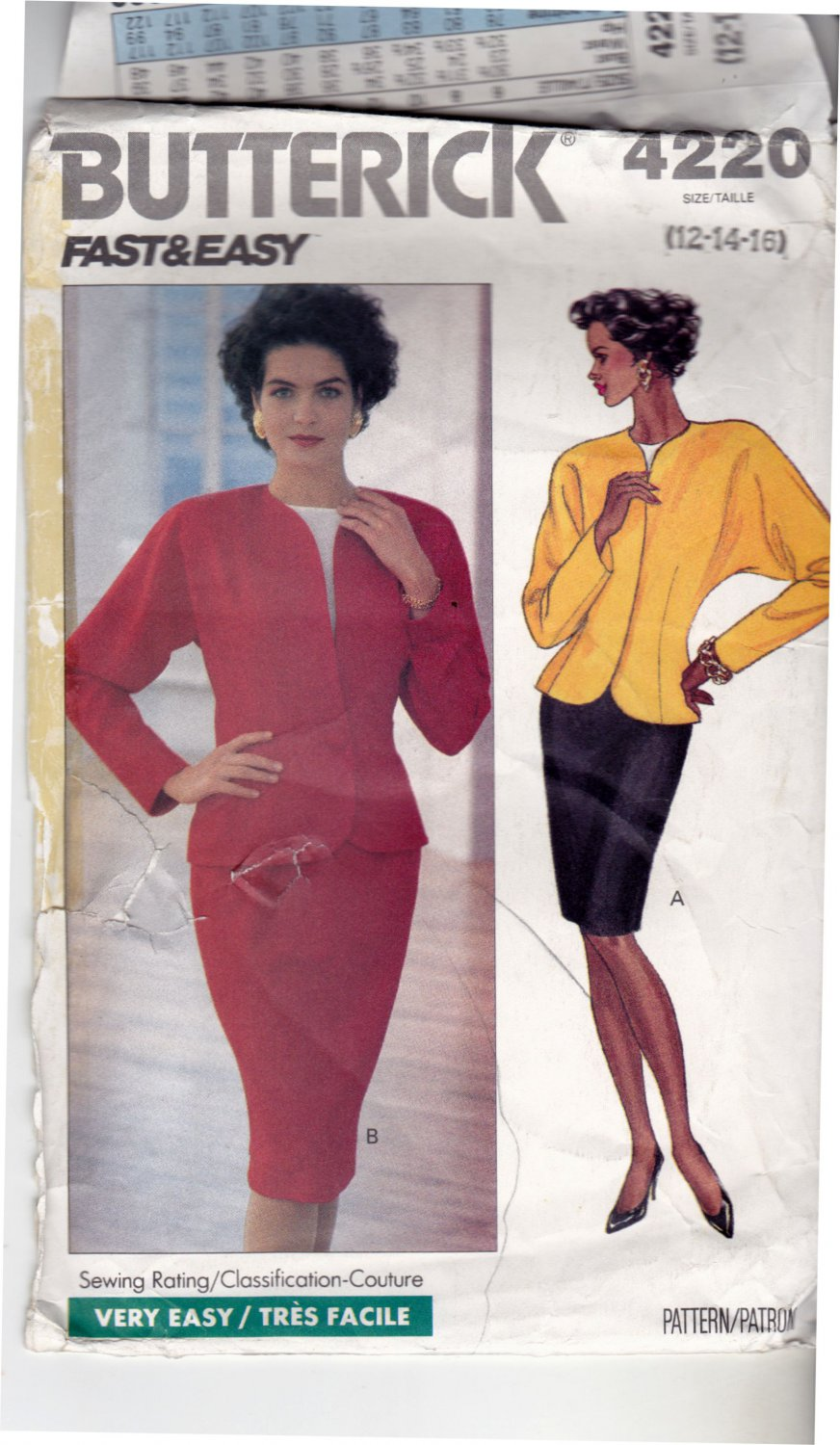 Butterick 4220 Pattern uncut 12 14 16 Unlined Jacket Shoulder Pads Tapered Skirt Pullover Blouse