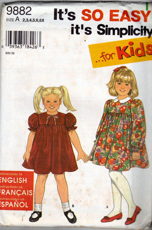 Simplicity 9882 Pattern uncut Girls Toddlers 2 3 4 5 6 6X Dress Gathered to Yoke Peter Pan Collar