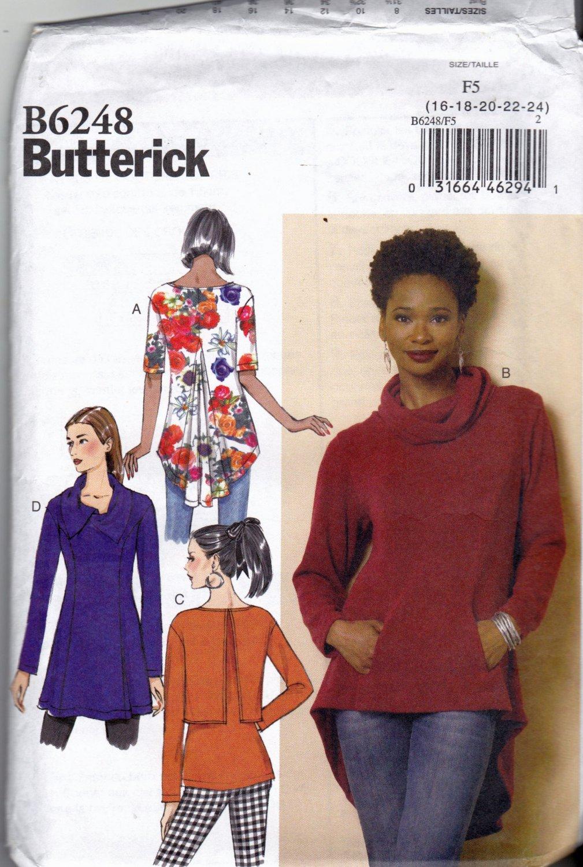 Butterick B6248 Pattern uncut 16 18 20 22 24 Tunic Back Godet Shaped Hem Pockets