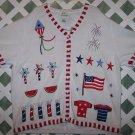Quacker Factory American Flag Stars & Strips EUC 2X