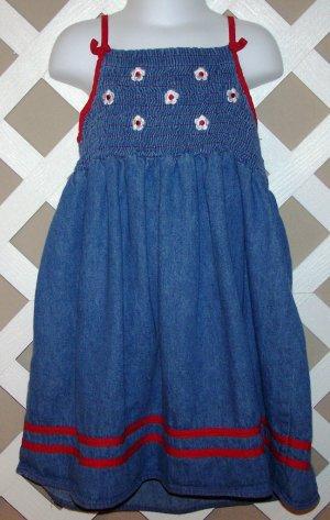 Girls Zoey Brand Smocked Denim Dress Size 6