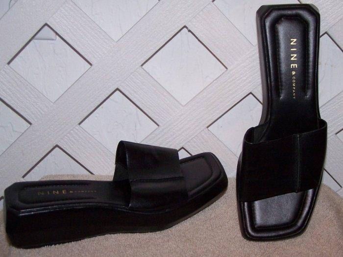 Women�s Nine & Company Black Leather Sandals Slides Size 6 NEW