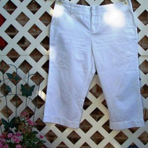 Womens White Sonoma Capri Pants 16 P BTS