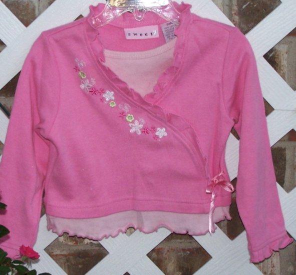 Girls 2pc SWEET Pink Shirt & Brown Corduroy Pants 24 Months BTS Cute!