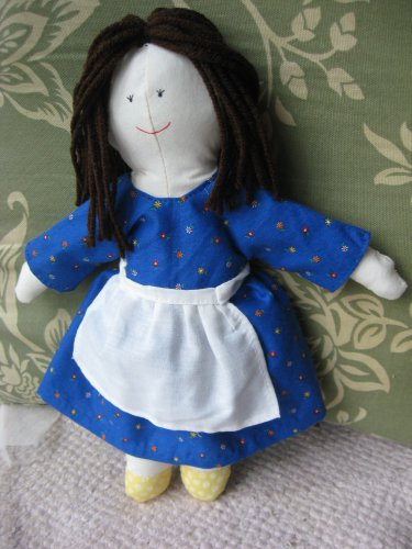 Brown-Haired Doll with Blue Dress and Apron