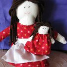 Handcrafted Doll in Red Dress & Small Doll