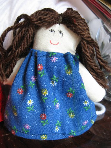 Miniature Doll in Blue Calico Dress