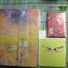 Transformational Dragonfly Dream Journal and Two Colorful Metal Wrapped Magnets