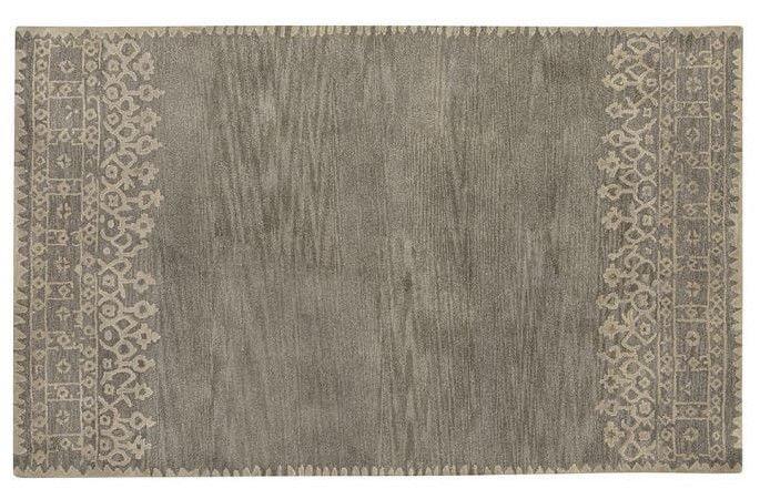POTTERY BARN NEW Desa Gray Persian Hand Tufted 5X8 Design Wool Carpet Rug