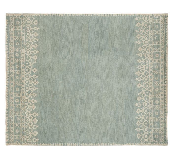 POTTERY BARN NEW Desa Blue Persian Hand Tufted 5X8  Modern Wool Carpet Rug