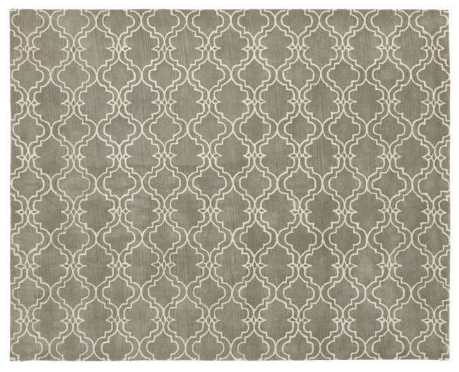 POTTERY BARN NEW Scroll Tile Gray Persian Hand Tufted 5X8 Design Wool Carpet Rug