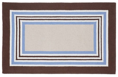 POTTERY BARN Tufted 5X8 Designer Tailored Striped Blue-Brown Kids Rug & Carpet