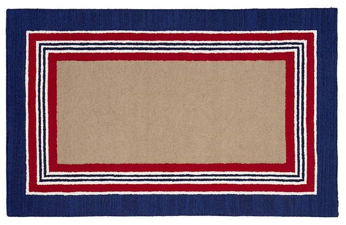 POTTERY BARN Tufted 5X8 Modern Designer Tailored Striped Navy Kids Rug & Carpet