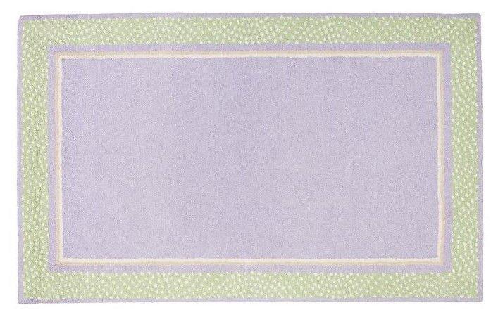 Hand Tufted woolen 5X8 Modern Polka Dot Border  Lavender Green Kids Rug & Carpet