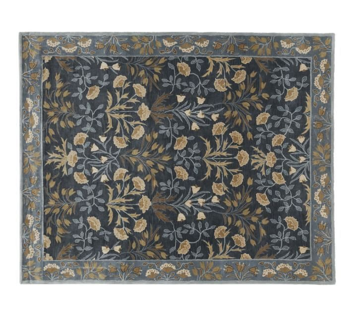 POTTERY BARN NEW Persian Adeline Blue Mist Hand Tufted 9X12 Wool Carpet Rug