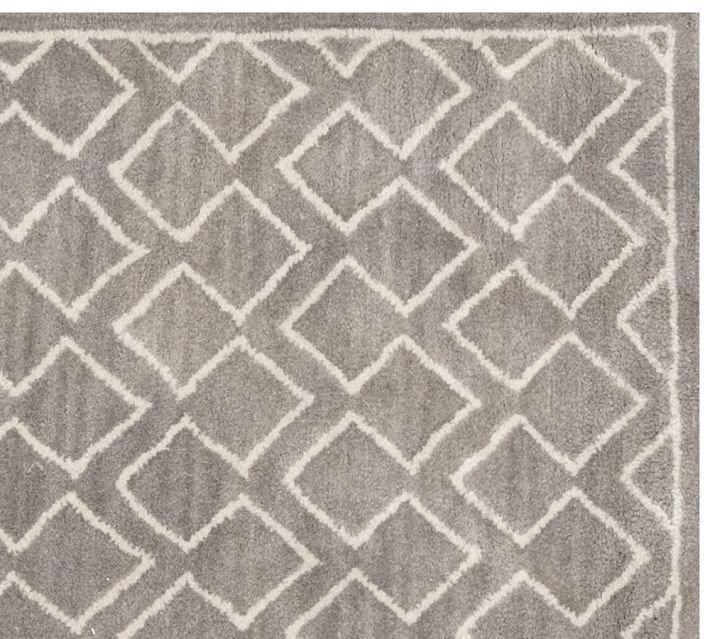 POTTERY BARN NEW Taylor Geo Rug Gray Mist Hand Tufted 5X8 Design Wool Carpet Rug