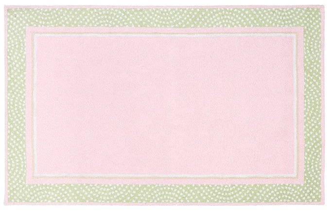 POTTERY BARN Tufted 5X8 Modern Designer Polka Pink Green Kids Rug & Carpet