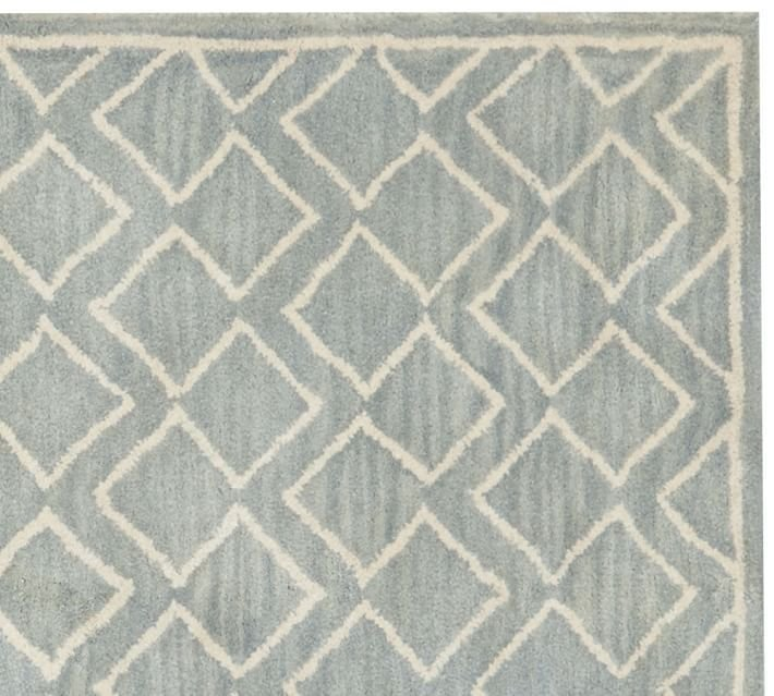 POTTERY BARN NEW Taylor Geo Porcelain Blue Mist Hand Tufted 8X10 Wool Carpet Rug