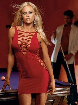 Red laceup mini dress