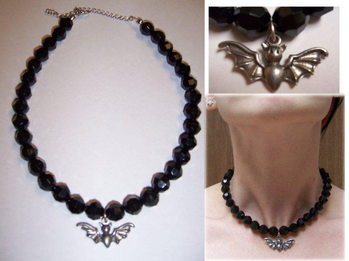 Black Bead Bat Necklace