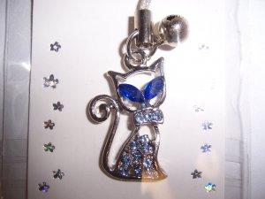 Blue Rhinestone Kitty Cell Phone Stylus Charm