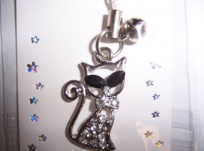 Crystal Rhinestone Kitty Cell Phone Stylus Charm