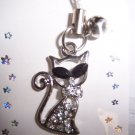 Crystal Rhinestone Kitty Cell Phone Stylus Charm