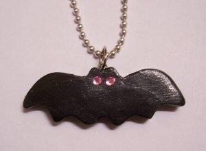 Bat Necklace (Light Pink Eyes)