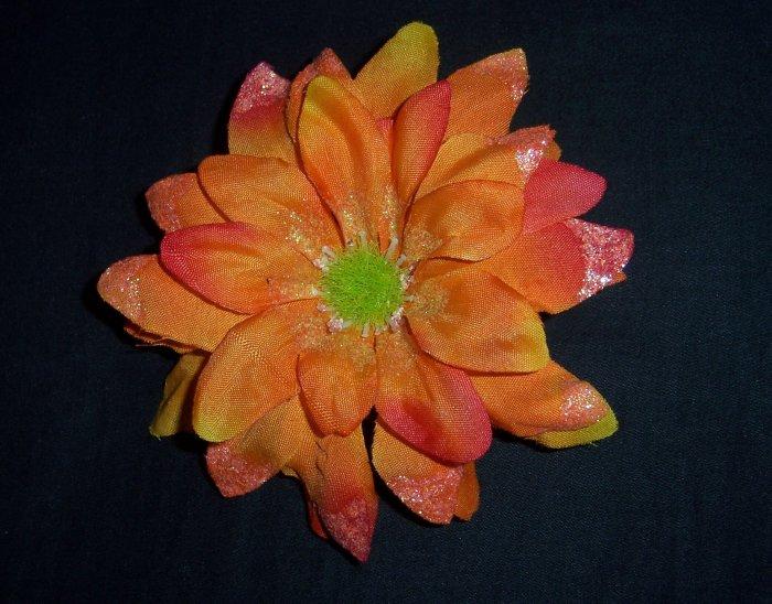 Orange Shasta Daisy Flower Barrette