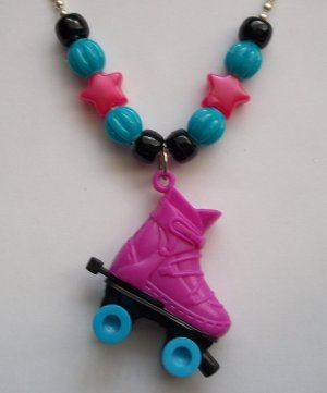 Fuchsia Rollerskate Necklace