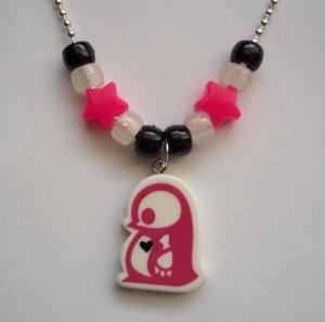 Fuchsia Penguin Skelanimals Necklace