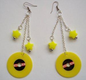 Yellow Record Earrings