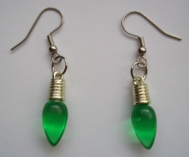 Green Light Bulb Earrings