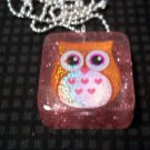 Orange Owl Necklace