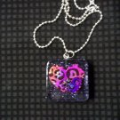Pink and Purple Leopard Print Heart Necklace