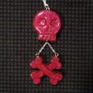 Pink Glitter Skull And Crossbones Necklace
