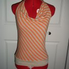 Orange stripe halter top