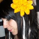 Gold Dahlia Flower Barrette