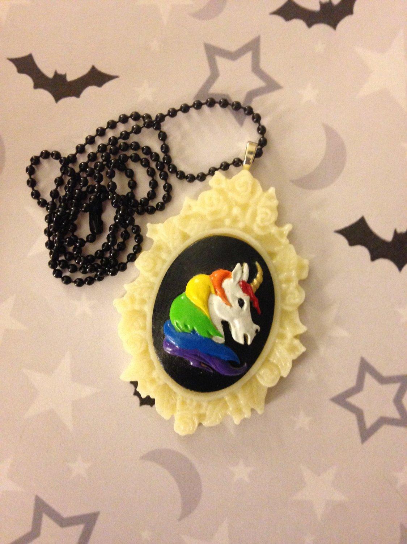 Rainbow Unicorn Cameo Necklace