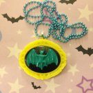 Turquoise and Yellow Bat Cameo Necklace